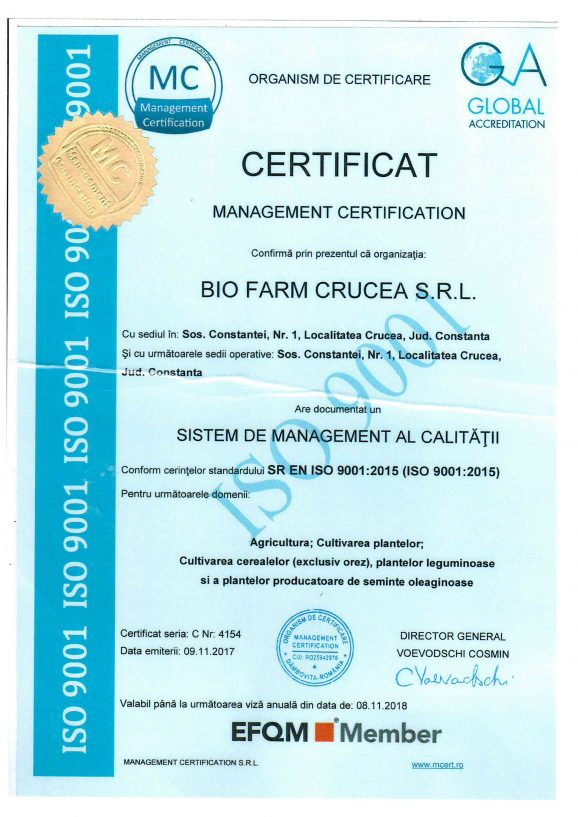 BIO FARM CRUCEA SRL awarded ISO 9001 Certification for 2017/2018